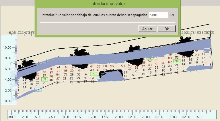 Edición de puntos que afecten a los resultados de Iluminancia y uniformidad (Útil cuando hay objetos o esquinas)